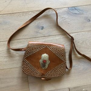 Leather Moroccan bag stud crossbody